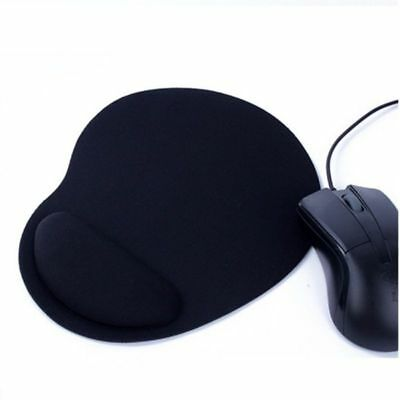 Black Anti-Slip Mouse Mat Pad With Foam Wrist Support Pc & Laptop Eva Uk Seller
