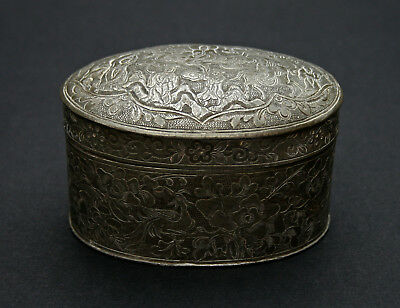 Antique Chinese Pewter Box Engraved Decoration - French Flea Market Find