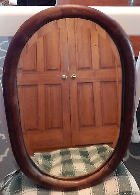 """Antique oval beveled glass mirror wood wall hanging 21.5 x 13.75"""" heavy"""