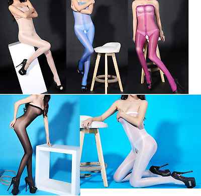 43# Sexy Catsuit Öl Effekt Bodystocking Dessous Nylon Fishnetz Club & Dance Wear