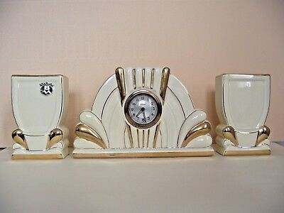Vintage French SCOUT Art Deco Clock With 2 Matching Vases Cream And Gold 745