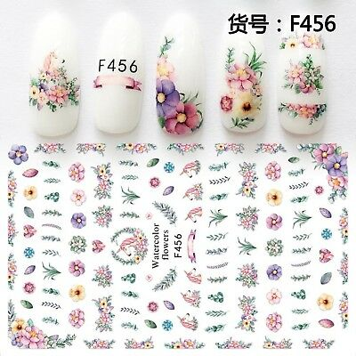 Nail Art Stickers Transfers 3D Self Adhesive Unicorns Flowers (F456)