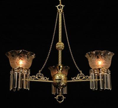Gorgeous Victorian Eastlake Circa 1880's Brass & Crystal Etched Glass Chandelier