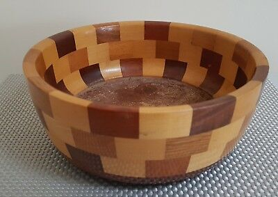 Vintage Collectable 4 Toned Wooden Fruit Bowl