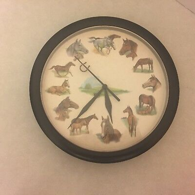 Horse Wall Clock - Sounds at the Top of the Hour - Equestrian Decor