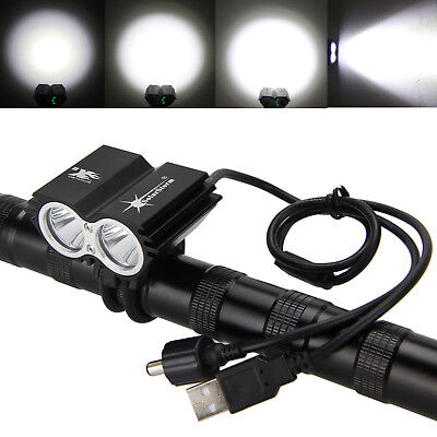 USB Rechargable 2xT6 LED Bike Front Lamp Bicycle Headlight Outdoor Fishing Torch
