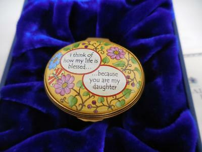 HALCYON DAYS ENAMELS Blessed Because You Are My Daughter Trinket Box Pls. Read