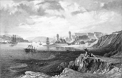 NORTH & SOUTH SHIELDS, TAKEN from the ROCKS near TYNEMOUTH - Engraving from 19th