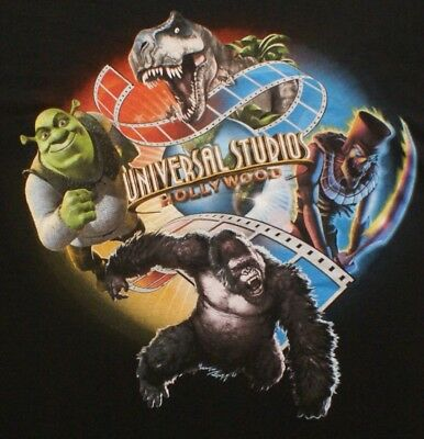 Universal Studios Hollywood Multi Character Souvenir Adult T-Shirt Large, NEW