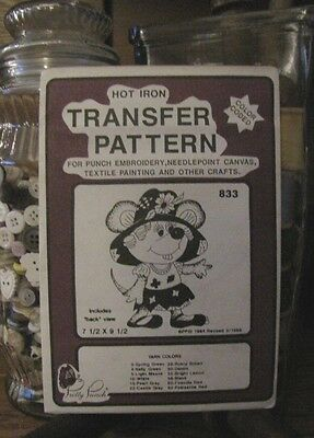 Pretty Punch Iron Transfer Pattern, Punch Embroidery, etc. - Mouse #833 -NOS
