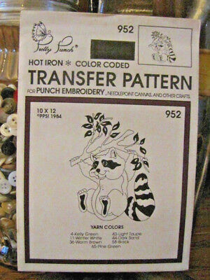 Pretty Punch Iron Transfer Pattern, Punch Embroidery, etc. Raccoon #952 -NOS