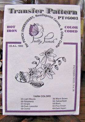 Pretty Punch Iron Transfer Pattern, Punch Embroidery, etc.Orchid #PT6003 -NOS