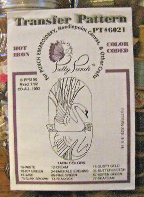 Pretty Punch Iron Transfer Pattern, Punch Embroidery - Swan - #PT6021 -NOS