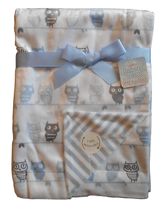 Baby Boys Gorgeous White with Blue and Grey Owls Reversible Wrap Blanket