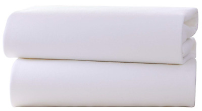 Clair de Lune Pram/ Crib Cotton Jersey Fitted Sheets (Pack of 2, White)