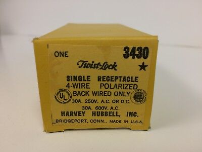 Hubbell 3430 Twist Lock Single Receptacle 4-Wire  30 Amp 600v