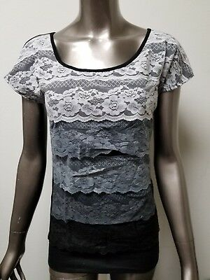 new womens vanity lace front open back top blouse. retail 29.80