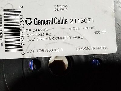 General Cable 2113071 24/1P General Purpose Cross-Connect Wire Blue/Violet/400ft
