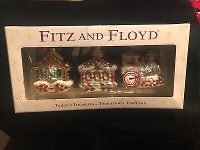Fitz & Floyd Candy Lane Train Engine Car Caboose Glass Christmas Ornament Set