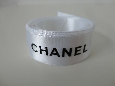 "New Authentic CHANEL White Satin Black Lettering Gift Wrap Ribbon 1.0"" x 113.0"""