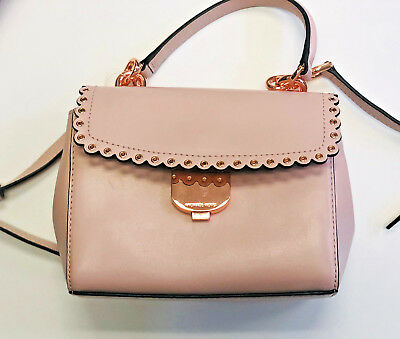 8245323b4f1a MICHAEL KORS Ava Small Scalloped Leather Crossbody Soft Pink/Rose Gold ...