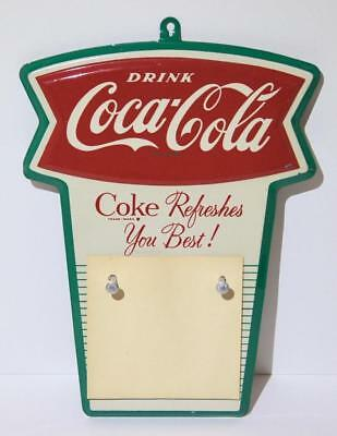 Vintage Late 1950s Early '60s Coca-Cola Metal Fishtail Calendar Holder COKE Sign