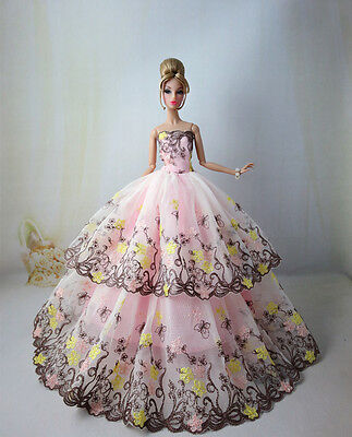 BARBIE Doll Double Layer lace Evening Dress Ball Gown in Pink