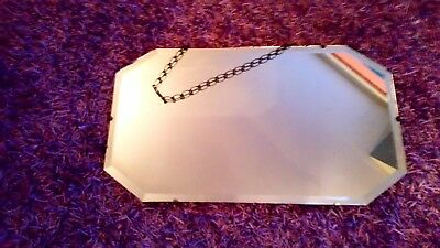 Vintage art deco mirror bevelled frameless chain COLLECTION ONLY