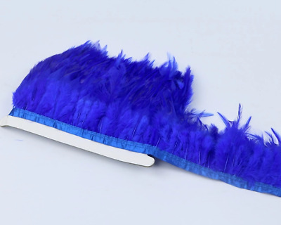 Royal Sapphire Blue Rooster Feather Fringe Ribbon Trim Price for 30cm DIY Craft