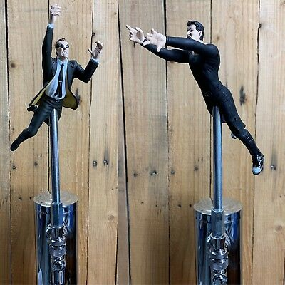 THE MATRIX Tap Handle Pair Agent Smith &Keanu Movie Beer Keg Kegerator Pull Knob