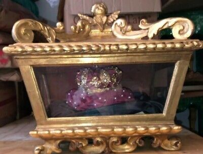 Antique French Vitrine , Jewel box . Gold leaf on sculpted wood . 18th Century