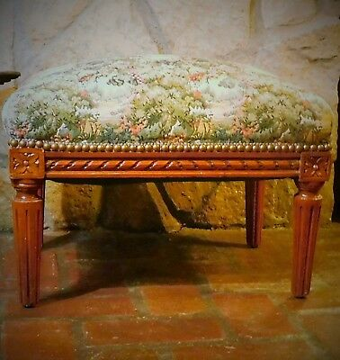 "Antique FOOTSTOOL w/ Springs Carved Wood, Tapestry Restored Top 15"" H  X 20"" L"