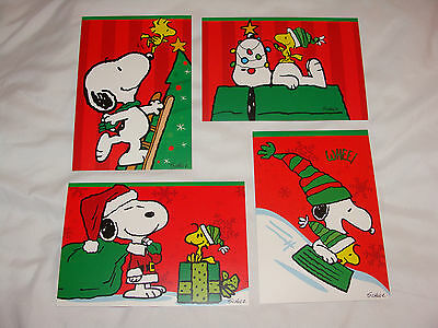 Snoopy Christmas Cards.4 Peanuts Snoopy Christmas Cards Sunrise W Envelopes