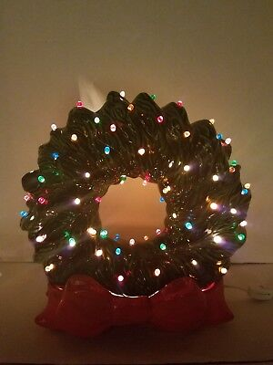 Vintage Ceramic Lighted Christmas Wreath Red Bow Base Multi Colored Lights