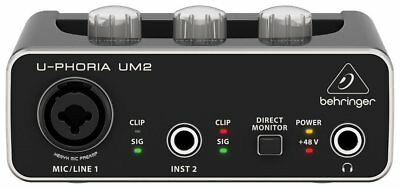 BEHRINGER U-PHORIA UM2 48kHz 2-channel USB Audio Interface with XENYX Mic Preamp