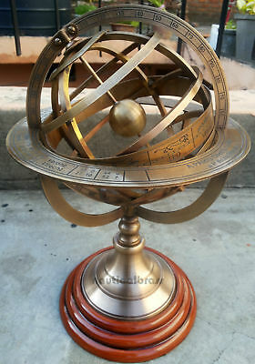 Brass Engraved Tabletop Armillary Nautical Sphere Globes -World Globe
