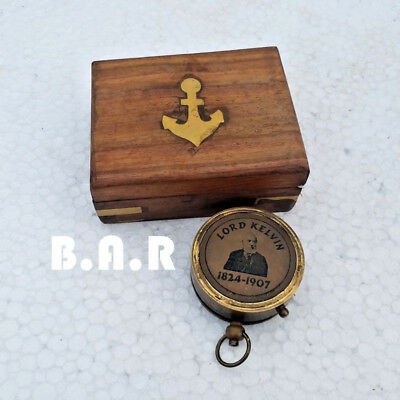 Brass Antique Compass Lord Kelvin Engraved Sundial Compass With Woodenbox