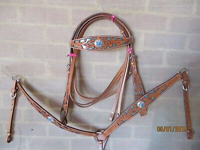 western  campdraft breastplate  bridle set chestnut leather with teal blue inlay