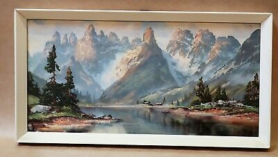 BEAUTIFUL FRAMED MID CENTURY MOUNTAIN PRINT 1950s