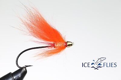 ICE FLIES. Tube fly. Orange Brahan. Pick a size. (3-pack)