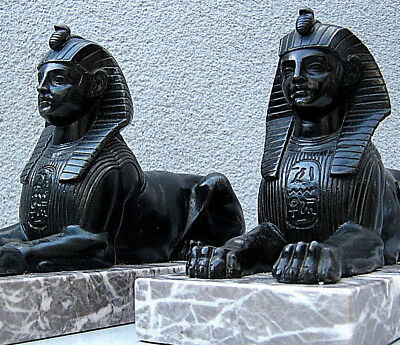 Pair Victorian bronzed sphinx after George Vulliamy on variegated marble plinths