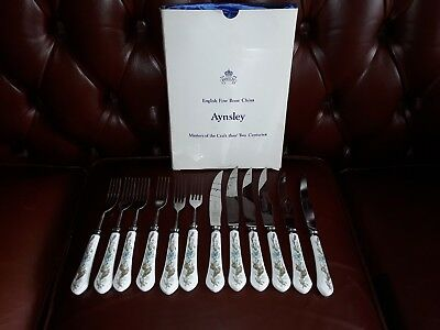 Aynsley WILD TUDOR set of 6 steak knives and forks in box ex condition