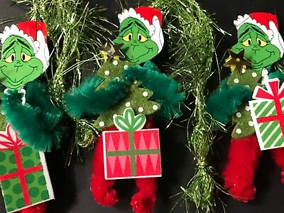 GRINCH ornaments, Chenille feather tree Christmas gift tags item#8