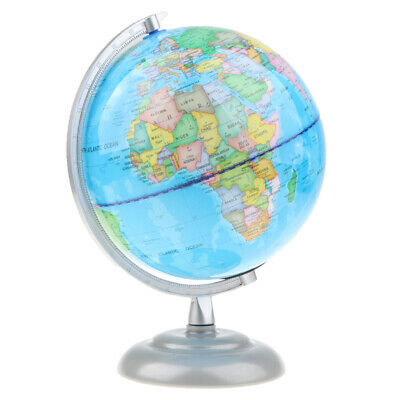 360° Rotating 20cm Metal Base World Map Geography Globe Educational Toy Gift