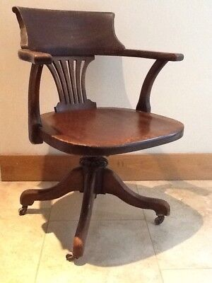 Captains Chair Antique Swivel Mahogany Adjustable Height