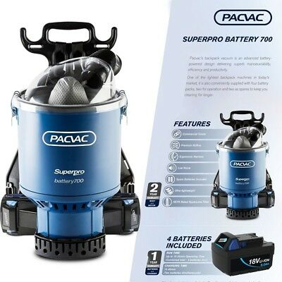 Pacvac Superpro 700 Advance Battery Wireless Backpack Vacuum with 4 Battery Pack