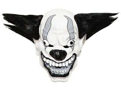 HALLOWEEN PARTY ADULT Black & White Clown Mask With Scary Eyes & Black Hair  New