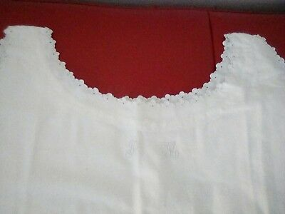 antique vintage french nighty dress thick cotton embroiders F M