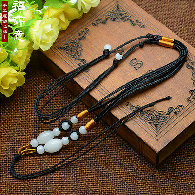 1Pcs Natural JADE beads Black Circle string cord rope for pendant Necklace A207