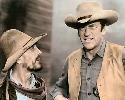 "KEN CURTIS & JAMES ARNESS TELEVISION GUNSMOKE 8x10"" HAND COLOR TINTED PHOTOGRAPH"